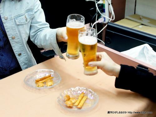 ビールでかんぱーい。至福の瞬間です。
