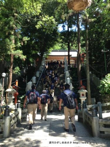 本殿への階段を登る選手たち。他の参拝者が「なにごと?!」と驚かれていました