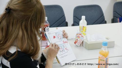某人気アニメのキャラクタを商品企画メモに手書きで書き、イメージしやすくしています
