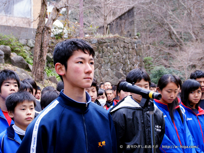 小阪中学校2年・天野康平さん。キリッと凛々しく、選手宣誓。