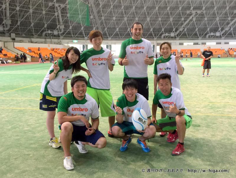 なんと横浜から参加された「たぐんちゅ」の皆さん。月2回「大人のためのラグビー」を開催中とのこと。